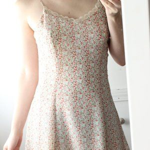 Urban Outfitters Floral Slip On Mini Dress XS